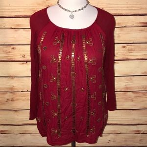 Lucky Brand Ruby Red & Gold Bead/Sequin Top